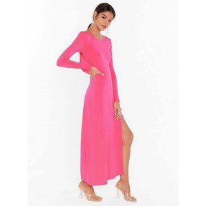NASTY GAL Neon Pink Long Sleeve w/ Side Slit Dress